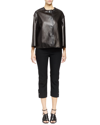 Hanging-Stitch Chain-Trim Leather Jacket & Ankle Pants with Stud Cuff Detail