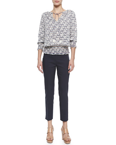 Tory Burch Nadia 3/4-Sleeve Printed Embroidered Top &