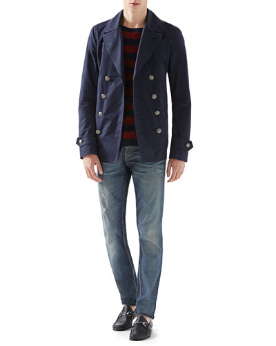 Washed Gabardine Peacoat, Striped Silk-Cotton Sweater & Stonewashed Stretch-Denim Skinny Jeans