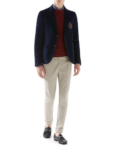 Fine Corduroy Schoolboy Jacket, Duke Shirt with Web Detail, Cashmere Crewneck Sweater & Stretch-Gabardine Riding Pants