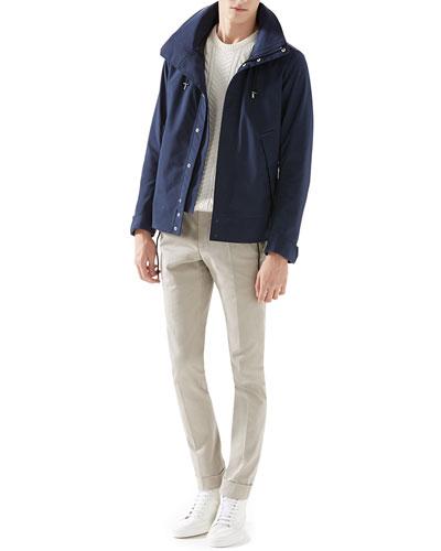 Poly-Poplin Techno Jacket, Cable Knit Sweater & Stretch-Gabardine Riding Pants