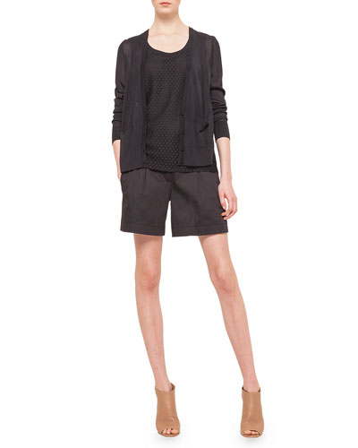 Plisse Punto Lace Accordion Cardigan, Punto Lace Knit Top & Miata Pleated Slash Pocket Shorts