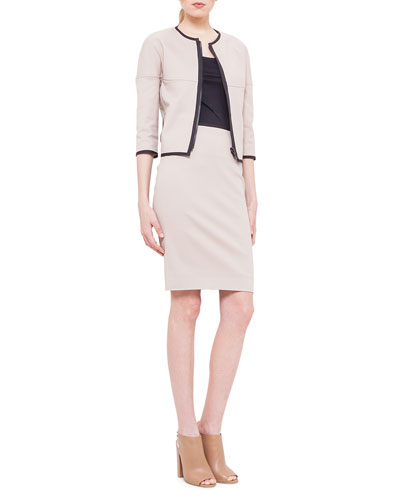 3/4-Sleeve Reversible Jacket, Scoop-Neck Jersey T-Shirt & Contrast Waistband Techno Cotton Pencil Skirt