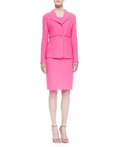 Crinkled Twill Single-Button Blazer & Sheath Dress, Electric Pink