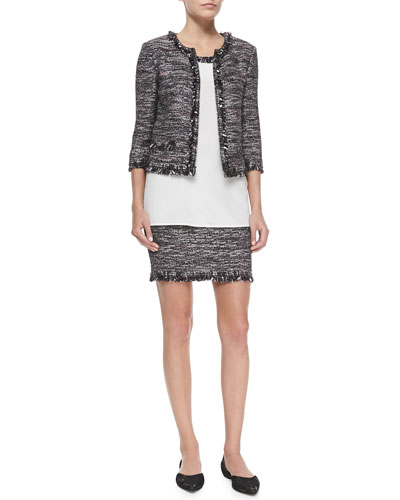 Sparkle-Inlay Fringe-Trimmed Jacket, Shell & Skirt