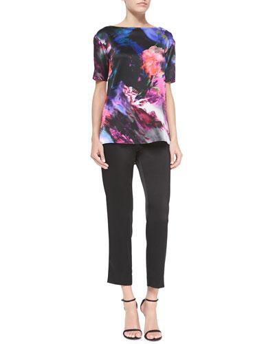 Floralscape Print Stretch Silk Blouse & Liquid Satin Side Zip Cropped Pants