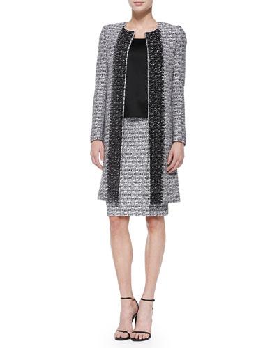 Subtle Plaid Shimmer Knit Topper Jacket, Liquid Satin Tank & Pencil Skirt