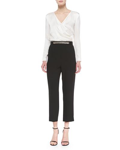 Lightweight Crepe and Cady Jumpsuit & Liquid Satin Chain-Embellished Belt