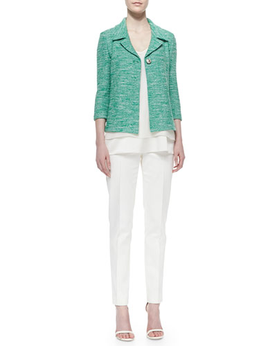 Shantung Tweed Knit 3/4-Sleeve Jacket, 2-Ply Silk Georgette V-Neck Shell & Micro-Ottoman Pintuck Pants