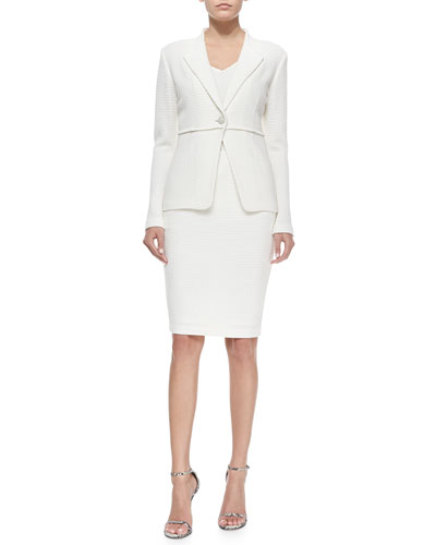 Punto Riso Knit Rever Collar Jacket, 2-Ply Silk Georgette V-Neck Shell & Punto Riso Knit Pencil Skirt