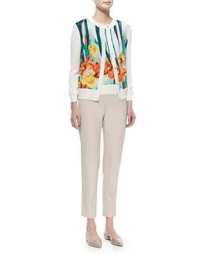 Cashmere-Blend Floral-Print Cardigan, Sleeveless Sweater & Emma Tropical Wool Ankle Pants