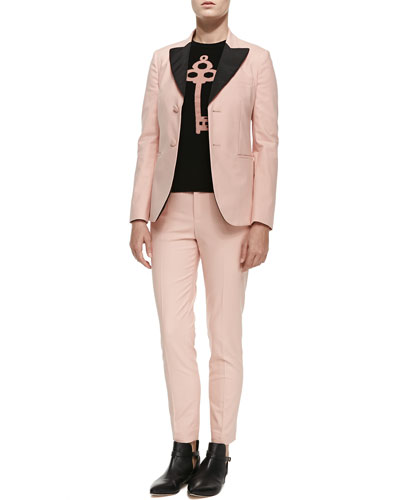 Two-Button Blazer W/ Contrast Lapels, Cashmere Colorblocked Lock & Key Sweater & Low-Rise Cropped Skinny Pants