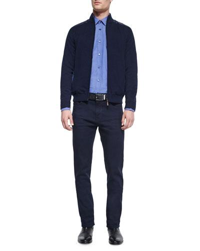 Reversible Full-Zip Jacket, Solid Stretch-Cotton Sport Shirt & Five-Pocket Pants