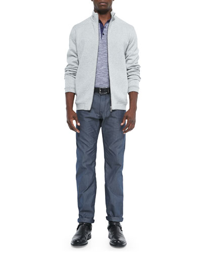 Quilted Full-Zip Sweatshirt, Mouline-Knit Polo & Pinpoint Optic 5-Pocket Pants