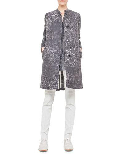 Broken Paint-Print Pleated Coat, Broken Paint-Print Voile Blouse & Napa Stretch-Leather Slim Pants
