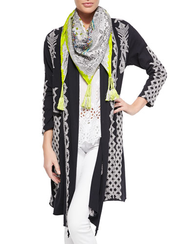 Tracy Draped Long Jacket, Saige Eyelet Tank & Silk Georgette Square Scarf, Women's