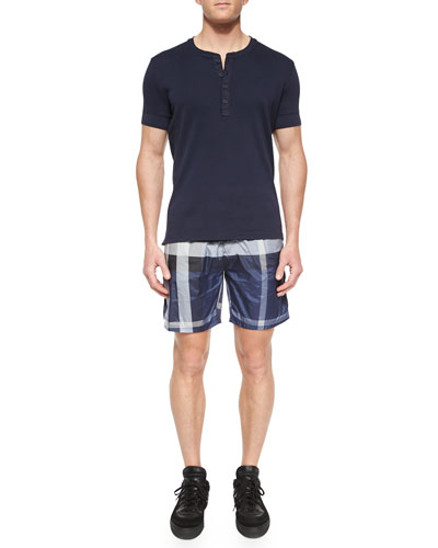 Elleswood Short-Sleeve Henley Tee & Nylon Check Swim Shorts