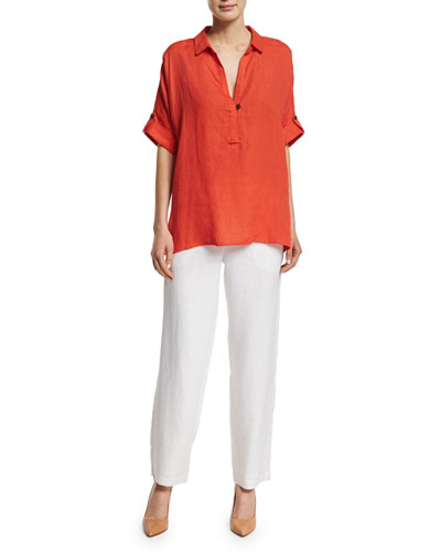 Oversized Short-Sleeve Linen Tunic & Straight-Leg Lined Linen Pants, Petite