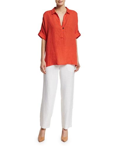 Oversized Short-Sleeve Linen Tunic & Straight-Leg Lined Linen Pants, Women