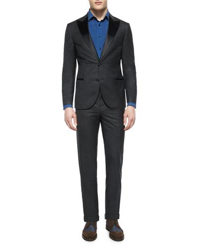 Peak-Lapel Wool Tuxedo & Pleated-Front Denim Tuxedo Shirt