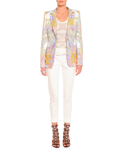 Emilio Pucci Wings and Stars Printed Blazer, Crochet Knit Tank Top & Clean-Front Capri Pants