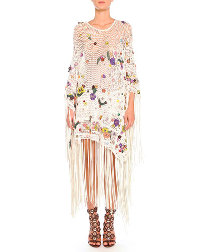 Emilio Pucci Poppy Rocks Embroidered Crochet Poncho & Shorts