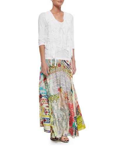 3/4-Sleeve V-Neck Tee, Floral Crochet Vest & Mix Print Long Skirt