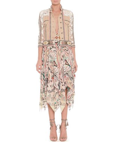 Etro Lace Mixed-Fabric Beaded Jacket, Diamond Paisley Silk Dress & Geometric Beaded Belt