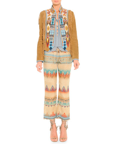 Suede Fringe Jacket with Geometric Beading, Lace-Trim Beaded Camisole & Santa Fe Printed Linen-Blend Cropped Pants