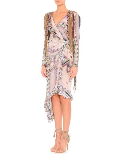 Etro Multi-Yarn Fringed Knit/Leather Vest & Ribbon-Print Asymmetric Long-Sleeve Wrap Dress