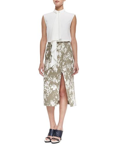 Cady Crepe Foulard Top & Brushstroke-Print Midi Wrap Skirt