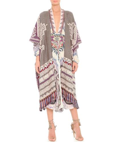 Etro Tassel-Hem Tapestry Poncho Cape, Dreamcatcher-Print Silk Balloon-Sleeve Dress & Geometric Beaded Belt