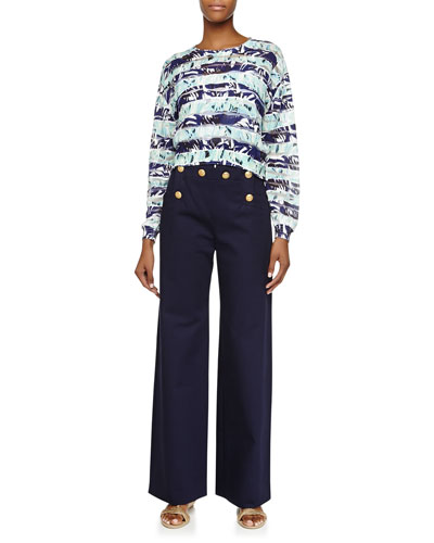 Striped Floral Long-Sleeve Top & Button-Front Cotton Trousers