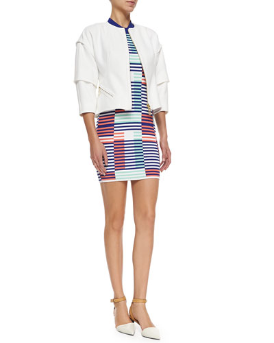 Tiered 3/4-Sleeve Jacket W/ Zip Front & Sleeveless Ribbed Intarsia Dress
