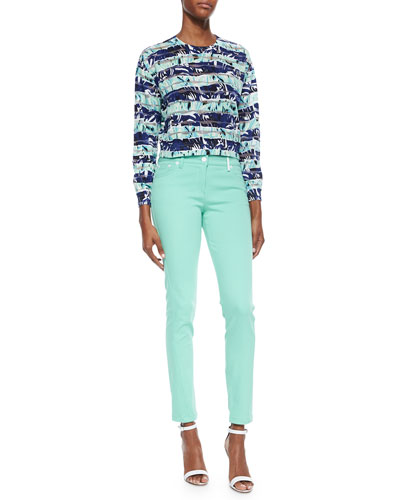 Striped Floral Long-Sleeve Top & Stretch-Twill Skinny Pants