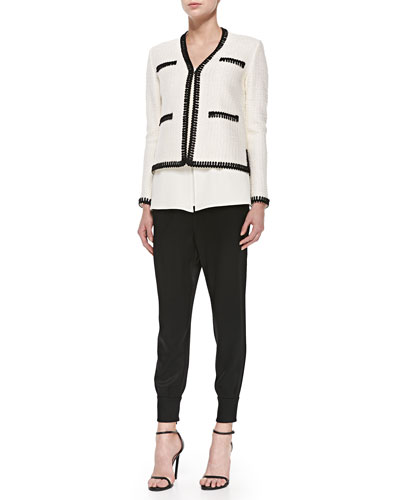 Novelty-Knit Eyelash-Trimmed Jacket, Luxe Crepe V-Neck Shell & Liquid Satin Top-Pleated Cropped Pants