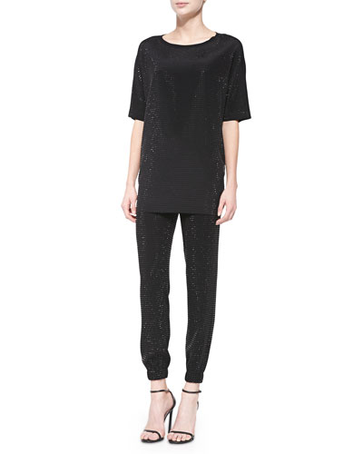 Sequined Soft Wash Jersey Combo Blouse & Lightweight Crepe Cady Pants