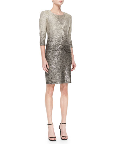 Degrade Shimmer Knit Single-Button Blazer & Dress, Gold/Caviar Multi