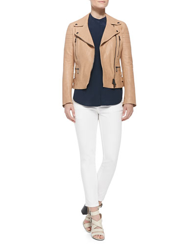 Classic Leather Moto Jacket, Henley-Front Silk Blouse & Zip-Pocket Skinny Jeans