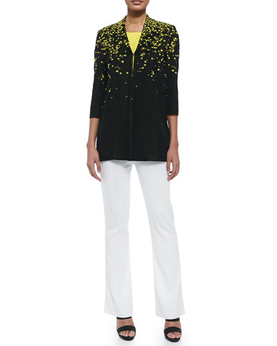 3/4-Sleeve Speckled Long Jacket, Sleeveless Long Tank & Boot-Cut Knit Pants, Women's