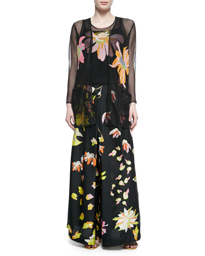 Open-Weave Cardigan and Tank with Intarsia Designs & Floral-Print Silk Palazzo Pants