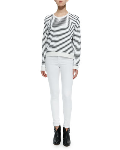 The Glenna Striped Crewneck Sweatshirt & Mid-Rise Super Skinny Jeans