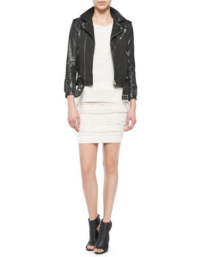 Zerignola Lamb Leather Jacket, Gise Sleeveless Fringed Top & Occeli Pattern-Stripe Pencil Skirt