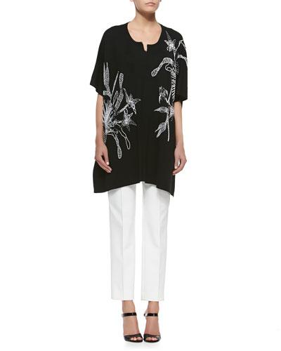 Floral-Beaded Elbow-Sleeve Sweater, Sleeveless Knit Shell Top & High-Waist Straight-Leg Pants
