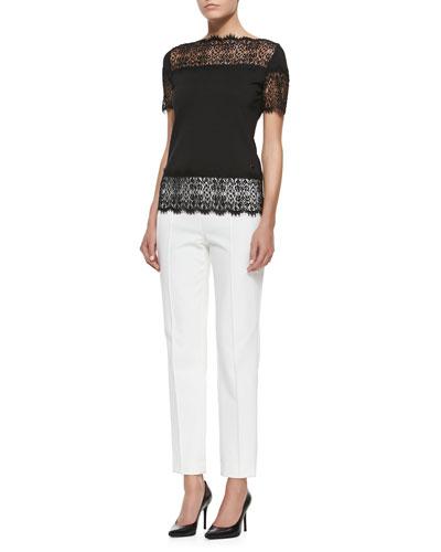 Fringed Lace-Trimmed T-Shirt & High-Waist Straight-Leg Pants