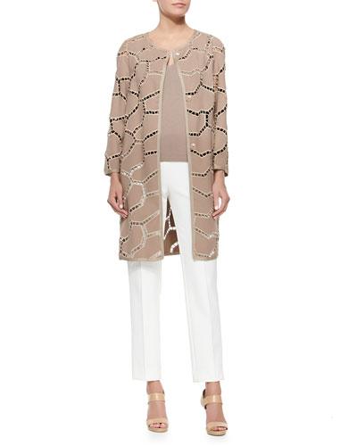 Placed Swiss Lace Topper, Sleeveless Knit Shell Top & High-Waist-Straight-Leg Pants