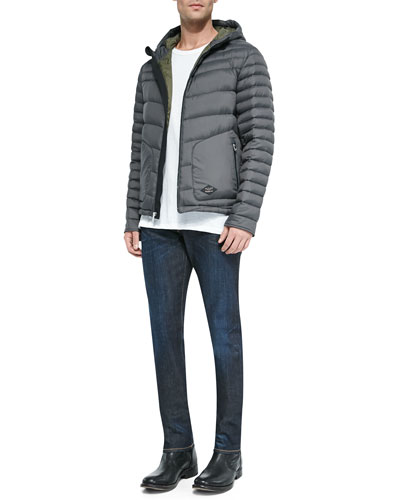 Meriwether Hooded Puffer Coat & Faded Wash Denim Jeans