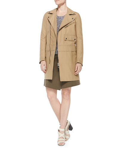 Asymmetric Zip Cotton Coat, Shaker-Knit Cotton Sweater & Gabardine Belted A-Line Wrap Skirt