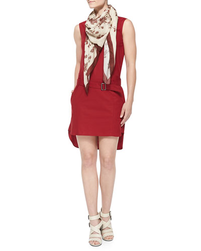 Belted Drop-Waist High-Low Dress & Floral-Print Border-Trim Scarf
