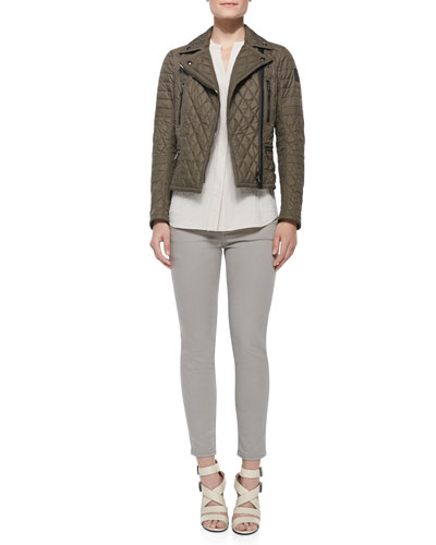 Classic Quilted Side-Belt Moto Jacket, Sleeveless Hammered-Texture Blouse & Zip-Pocket Skinny Jeans